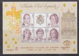 Spain 1984 Royal Family M/s ** Mnh (29746A) - Blocs & Hojas