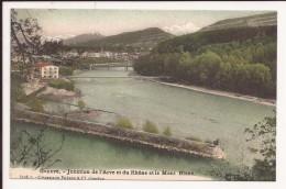 Geneve  - Jonction De L Arve Et Du Rhoe Et Le Mont Blanc - GE Genf