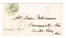 GB 1 Shilling Auf Brief Nach Cincinnati USA Taxiert 5cent Rot - Briefe U. Dokumente