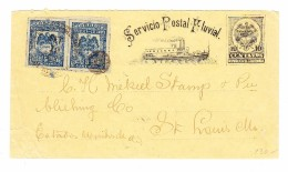 Kolumbien 19.9.1903 Postförderung Auf Rio Magdalena GS 10c Mit 5c (2) Zusatzfrankatur Nach St Louis USA - Colombie