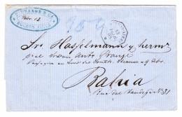 Brasilien 13.2.1868 Buenos-Aires (Franz. Konsularstempel) Faltbrief Nach Bahia AK Stempel  Selten - Lettres & Documents