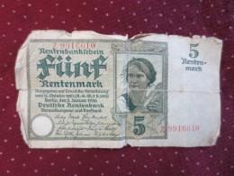 Rentenbankfchein  5 - [ 3] 1918-1933 : Repubblica  Di Weimar