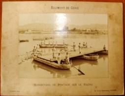 Photographie , 31.5 X 24 ,  Régiment De GENIE , Manoeuvres De Pontage Sur Le RHÔNE , Frais France : 2.95€ - Guerre, Militaire