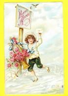 * Carte Gaufrée - Relief (Fantaisie - Fantasy) * (980) Bonne Année, New Year, Facteur, Graine De Roses, Snow, Enfant - Nouvel An