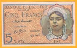 BILLET ALGERIE - 5 Francs Du 02 10 1944 - Pick 94b - NEUF -  UNC - Algeria