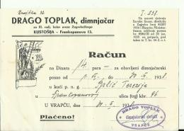 CROATIA  --  ZAGREB, KUSTOSIJA  --  FACTURE, INVOICE  --  1938  --  DRAGO TOPLAK  --  DIMNJACAR, MONEUR, CHIMNEY SWEEP - Ohne Zuordnung