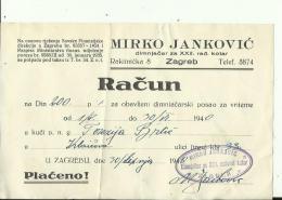 CROATIA  --  ZAGREB  --  FACTURE, INVOICE  --  1940  --  MIRKO JANKOVIC  --  DIMNJACAR, MONEUR, CHIMNEY SWEEP - Ohne Zuordnung