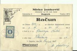 CROATIA  --  ZAGREB  --  FACTURE, INVOICE  --  TAX STAMP, 1940  --  MIRKO JANKOVIC  --  DIMNJACAR, MONEUR, CHIMNEY SWEEP - Ohne Zuordnung