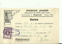 CROATIA  --  ZAGREB  --  FACTURE  --  TAX STAMP, NDH,  1942  --  POKOS J.  --  DIMNJACAR, MONEUR, CHIMNEY SWEEP - Rechnungen
