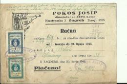 CROATIA  --  ZAGREB  --  FACTURE  --  TAX STAMP, NDH,  1943  --  POKOS JOSIP  --  DIMNJACAR, MONEUR, CHIMNEY SWEEP - Rechnungen