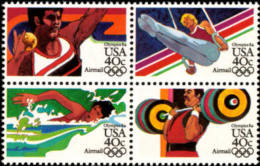 1983 USA 1984 Olympics Air Mail Stamps Sc#c105-08 C108a Shot Put Gymnastics Swimming Weight Lifting Sport - Weightlifting