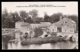 CPA ANCIENNE- PONTLIEUE (72)- LE MOULIN SUR L'HUISNE ET LE PONT COUPÉ EN 1893- GROS PLAN - Other Municipalities