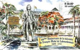 MAURITIUS 50 R - 55 U STATUE MAN 300 YEARS OF FRANCIS MAHE  DE L. ARIVAL CHIP  MAU-38 READ DESCRIPTION CAREFULLY !! - Mauritius