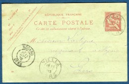 France - Oblitération Du Gers ( De Nogaro )  Sur Entier Postal Mouchon 1903  Voir 2 Scans   Réf. 858 - Marcophilie (Lettres)