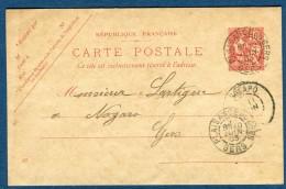 France - Oblitération Du Gers ( De Plaisance Du Gers)  Sur Entier Postal Mouchon 1903  Voir 2 Scans   Réf. 859 - Postmark Collection (Covers)