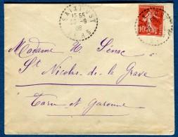France - Oblitération Du Gers ( De St Ost )  Sur Enveloppe 1908  Voir 2 Scans   Réf. 861 - Postmark Collection (Covers)
