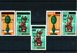 Bénin 1988-1989-1996-2007 ( Pièces D´Echecs - 5 Valeurs - Ensemble Complet) Luxe **  -  TRES RARES - Scacchi