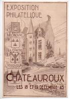Carte Souvenir 'Exposition Philatélique De Châteauroux' De 1943 - Marcophilie (Lettres)