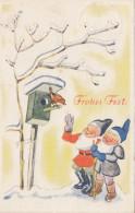 Frohes Fest Zwerge Gnom Wichtel Vogel - Haus - Christmas