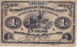 BILLETE DE LA PROVINCIA DE BUENOS AIRES DE 1 PESO DEL AÑO 1869 (rotura Parte Central 2cm) ARGENTINA - Argentina