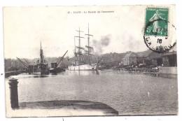 CPA Caen 14 Calvados Bassin De Commerce Bateaux Voiliers Trois Mâts édit AD N°42 écrite Timbrée 1916 - Caen