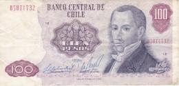 BILLETE DE CHILE DE 100 PESOS DEL AÑO 1981  (BANKNOTE) RARO - Chile