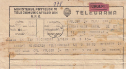 TELEGRAMME SENT FROM CLUJ NAPOCA TO BUCHAREST, 1962, ROMANIA - Télégraphes