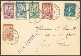 25 Centimes SEMEUSE + 5 Vignettes Meeting D´Aviation De ROUEN Sur Enveloppe Du 2-9-1922 Sc ROUEN-AVIATION Vers Paris+  S - Airmail