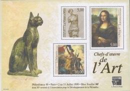 BF23 - FRANCE Blocs N° 23 Neufs** Philexfrance 1999 Thème Art Joconde, Vénus De Milo, Liberté Et Chat En Bronze - Domestic Cats