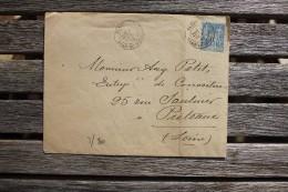 Enveloppe Affranchie 15 C Type Sage Oblitération Paris Gare Du Nord-Ouest 1884 - Marcophilie (Lettres)