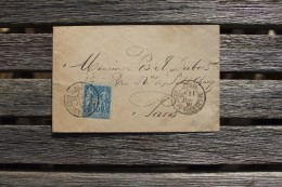 Enveloppe Affranchie 15 C Type Sage Oblitération Paris Gare Du Nord-Ouest 1880 - Marcophilie (Lettres)