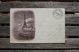 Carte Postale Cachet Sommet Tour Eiffel Affranchie Type 10 C Type Sage Oblitération Paris Exposition Universelle Drapeau - Poststempel (Briefe)