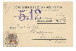 14504 -  Nachnahme Geographisches Lexikon Der Schweiz  Pour Langnau 23.03.1911 - Storia Postale
