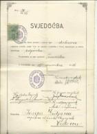 CROATIA, ZAGREB , VIDOVEC, VARAZDIN --   VELIKA ZUPA ZAGREBACKE OBLASTI  --  NOTARY, BILJEZNIK  CERTIFICATE  - 1926 - Diplome Und Schulzeugnisse