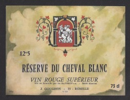 Etiquette De Vin De Table -  Hotel Restaurant Du Cheval Blanc  J. Gougeon à Romillé   (35 ) -  Ets Pérot  à Mauron  (56) - Etiquettes