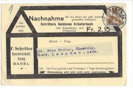 14505 -  Nachnahme Schröter Goldenes Kräuterbuch Basel Pour Langnau 25.03.1913 - Suisse