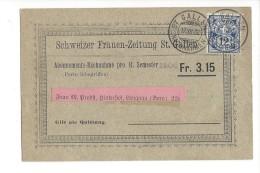 14506 -  Nachnahme Schweizer Frauen-Zeitung St.Gallen Abonnements-Nachnahme Pour Langnau 17.07.1903 - Lettres & Documents