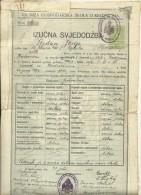 CROATIA, KRIZEVCI   --   KR. NIZA GOSPODARSKA SKOLA  --   SCHOOL DIPLOMA  - 1923  --  TAX STAMP - Diplome Und Schulzeugnisse