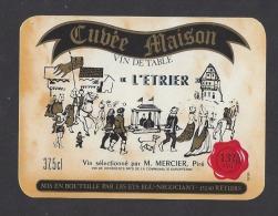 Etiquette De Vin De Table- Restaurant De L'Etrier M. Mercier à  Piré (35 ) - Ets  Egu  à  Rétiers  (35) - Etiquettes