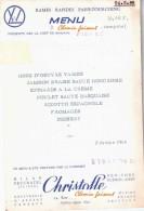 Menu Du ??/02/1965 SNCF Paris-Tourcoing - CHRISTOFLE - Menus