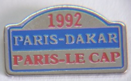 VT144 Pin´s Rallye Paris Le Cap Dakar 1992 Arthus Bertrandsigné AB  Qualité Eaf  Achat Immediat - Rallye