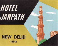 """04235 """"HOTEL JANPATH - NEW DELHI - INDIA""""  ETICHETTA ORIGINALE - LUGGAGE LABEL - Hotel Labels"""
