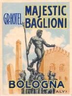 """04237 """"HOTEL MAJESTIC BAGLIONI - BOLOGNA - ITALY""""  ETICHETTA ORIGINALE - LUGGAGE LABEL - Hotel Labels"""