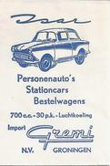 Suikerzakje.- ISAR Personenauto's Import GREMI N.V. Groningen . Suiker - Sucre - Zucchero - Azúcar. 2 Scans - Sucres