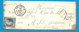 Creuse - Felletin Pour St Germain De Belbes - Marcophilie (Lettres)
