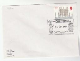 1989 GB CHRISTMAS Stamps COVER EVENT Pmk MERRY CHRISTMAS FROM TELECOM SHOWCASE Illus CAROL SINGERS - Christmas