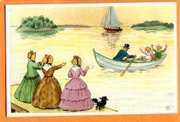 MAI148, Jolie Fantaisie,voilier,adieu Depuis La Berge,chien,barque, Svalan , E B, Elsa Beskow - Kort , 23, Non Circulée - Phantasie