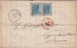 """Lettre Pozzallo Cachet Rouge """"Italie Menton"""" Pour Nice 1876 - 1861-78 Victor Emmanuel II."""