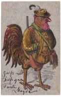 Artist Image Bird Dressed As Hunter With Gun, C1900s Vintage Postcard - Birds