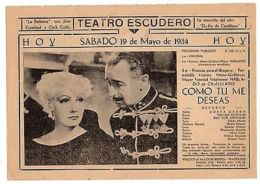 1934 Greta Garbo As You Desire Me ORIGINAL HERALD MOVIE PROGRAM IN SPANISH - Otras Colecciones